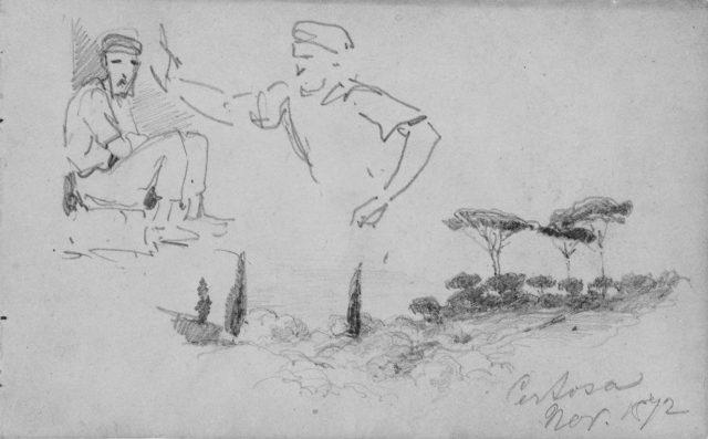 Men; Landscape with Pines, Certosa