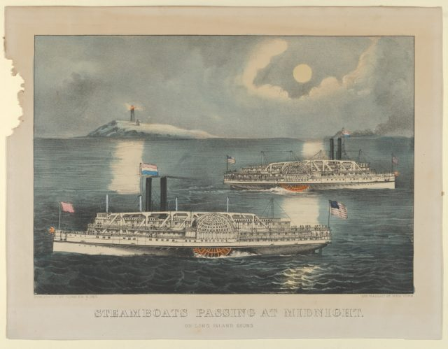 Steamboats Passing at Midnight – On Long Island Sound