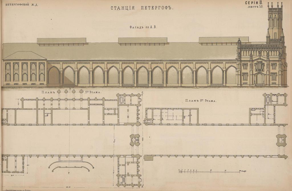 Station. Album of tracks, general arrangement drawings, buildings and bridges of the existing Russian railway system,1872