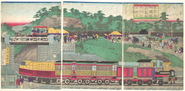 Illustration of a Steam Locomotive Running on the Takanawa Railroad in Tokyo (Tōkyō takanawa tetsudō jōkisha sōkō no zu)