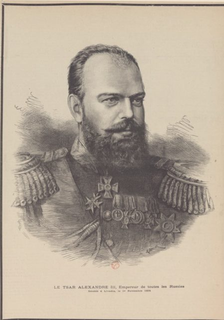 Alexander III, the Emperor of Russia, engraving portrait