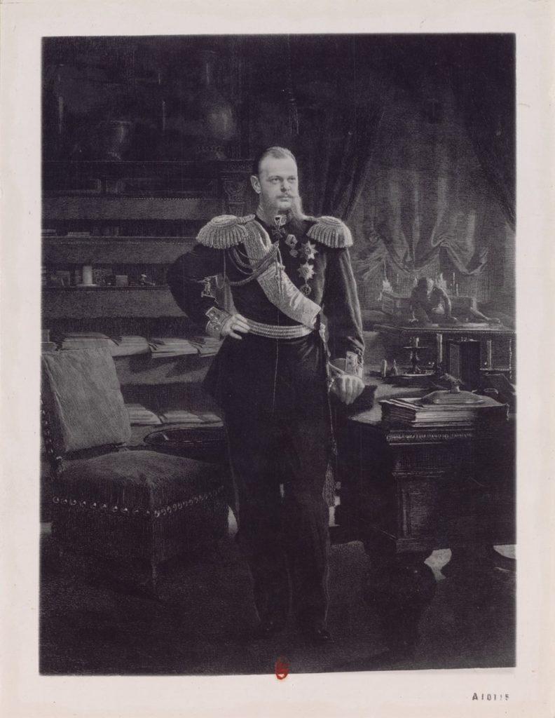 Alexander III, the Emperor of Russia standing portrait engraving