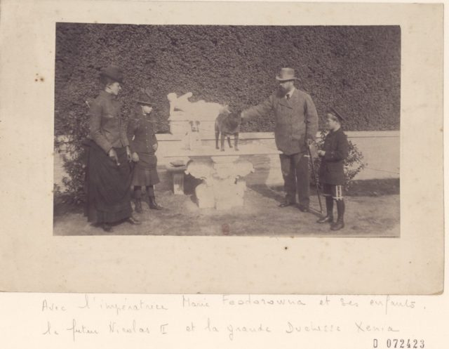 Alexander III, the Emperor of Russia with dog and family