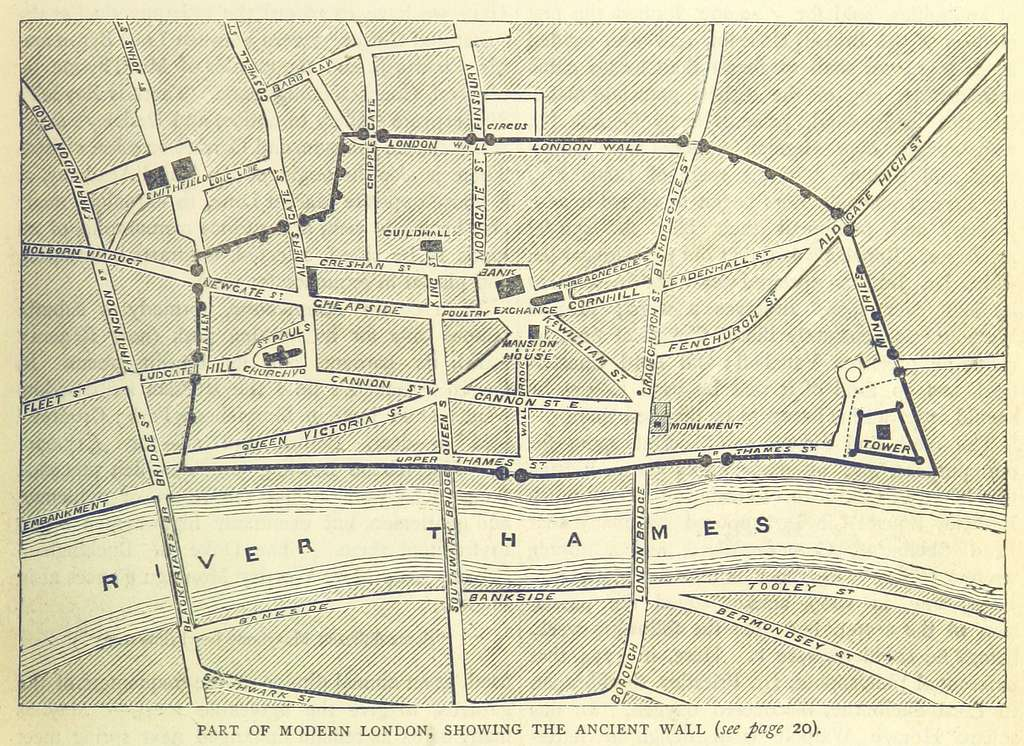 ONL (1887) 1.013 - Part of Modern London, Showing the Ancient Wall (map)
