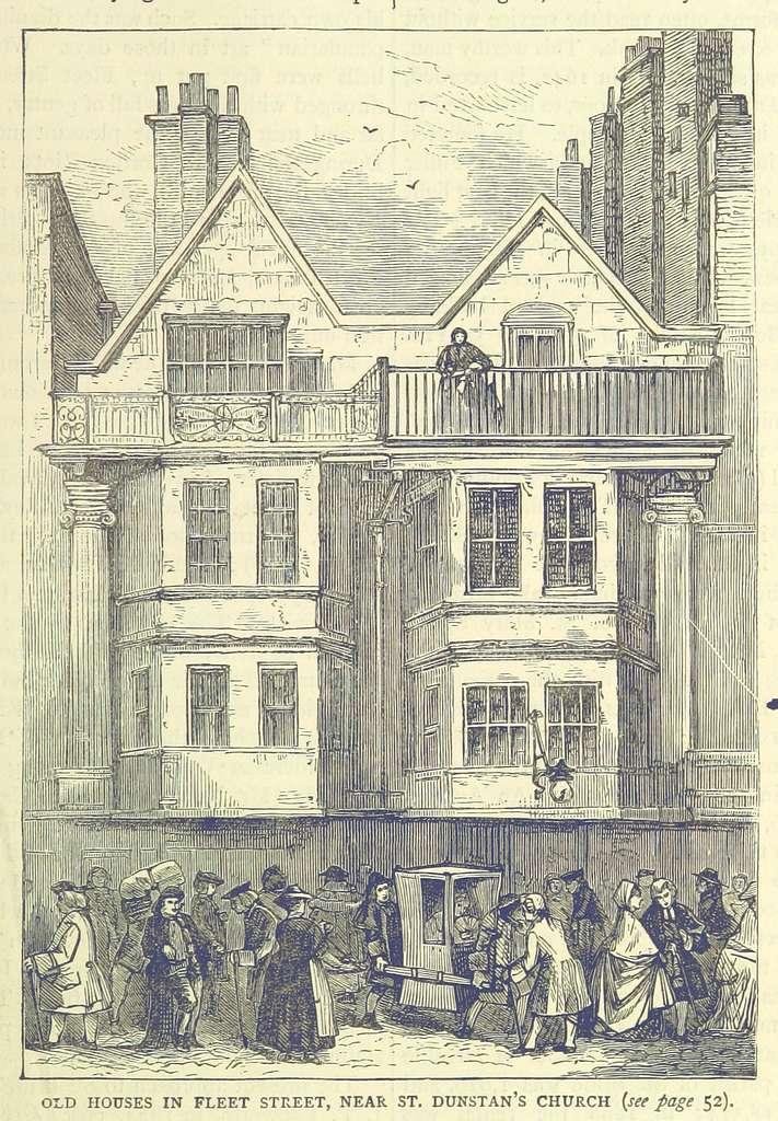 ONL (1887) 1.055 - Old Houses in Fleet Street, near St Dunstan's Church