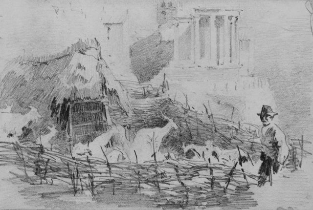 Man in Landscape with Temple on Hill in Background (from Scrapbook)