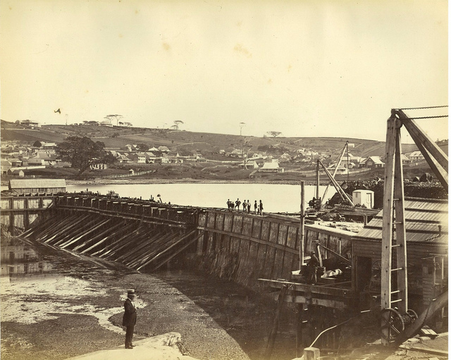 Construction of Kiama Harbour, ca. 1874 / photographer unknown