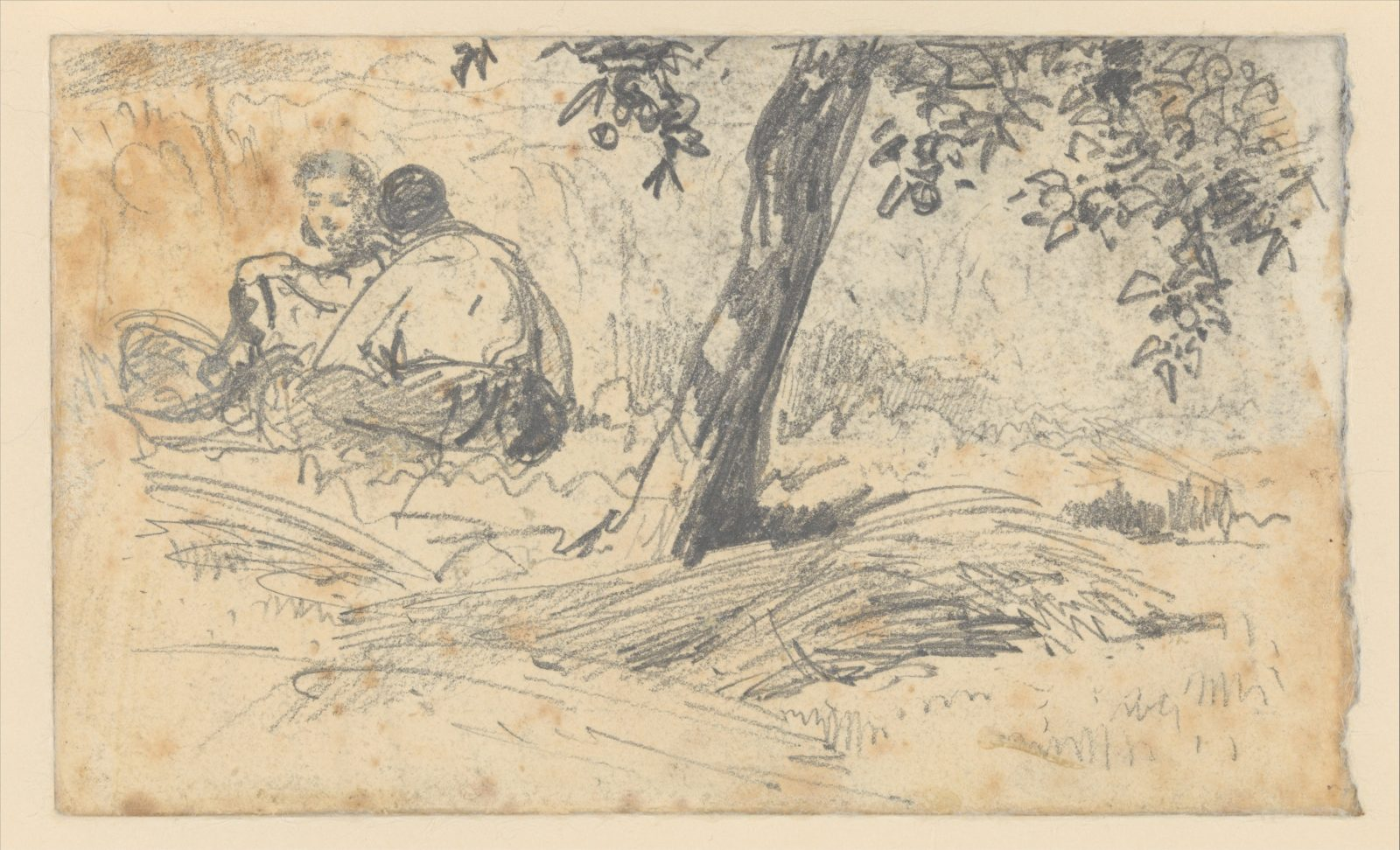 Boy and Girl Seated by Tree (from Scrapbook)