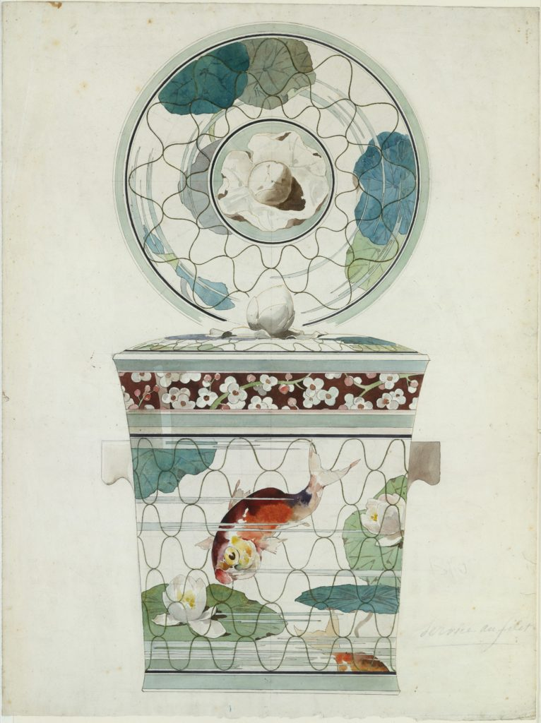 "Design for a Covered Dish in the ""Service au Filet"" (Fish Net Ware), Maison J. Vieillard et Cie, Bordeaux"