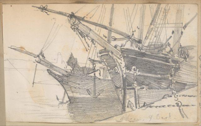 Schooner and Bark in Harbor (from Scrapbook)