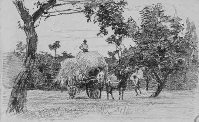 Two Men and a Hayrack Drawn by a Horse (from Scrapbook)