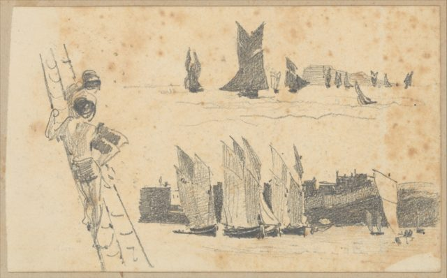 Two Men in Ship's Rigging, Two Scenes with Sailboats (from Scrapbook)