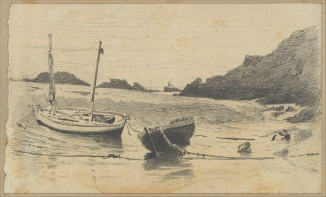 Two Small Boats Moored to Beach (from Scrapbook)