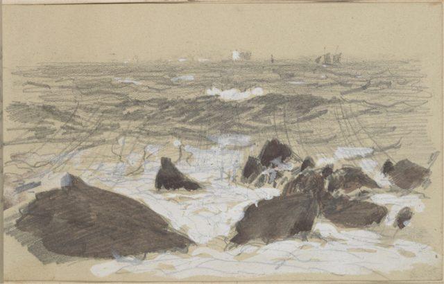 Waves Breaking on Rocks (from scrapbook)