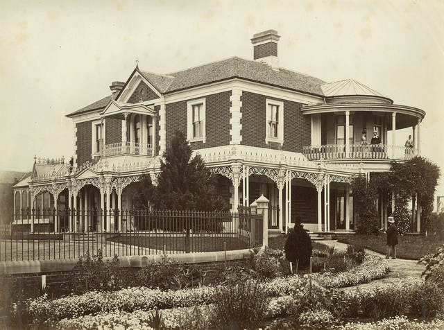 Edmund Webb, his wife and two daughter and their home, Hathrop, Bathurst, ca. 1875 / photographer unknown
