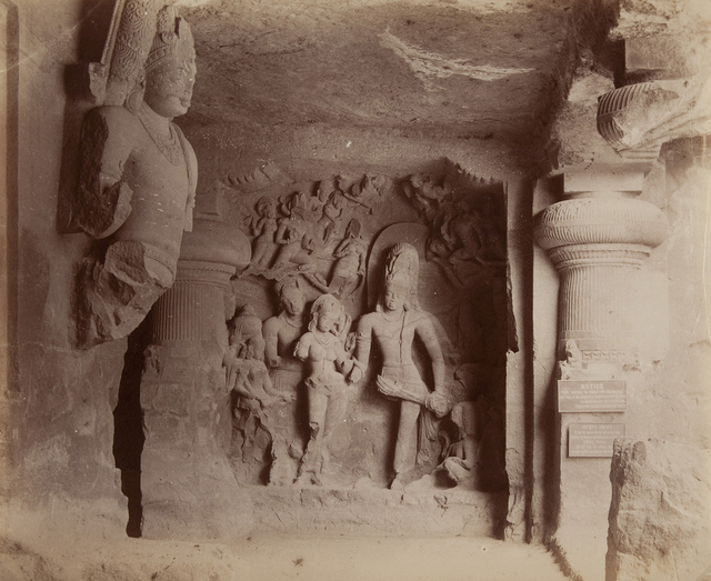 Elephanta, Group of Figures Near Water Cave