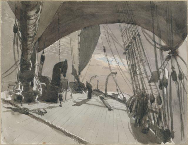 Deck of Ship in Moonlight (from scrapbook)