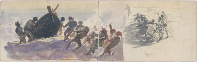 Men Hauling Lifeboat Ashore (from scrapbook)