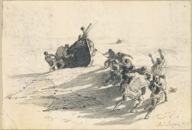 Men Hauling Lifeboat onto Beach (from Scrapbook)