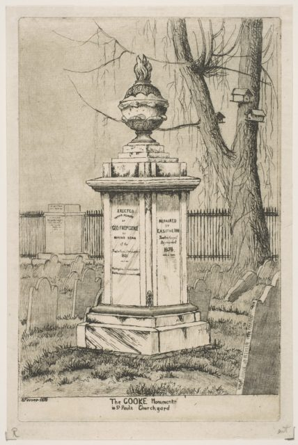 The Cooke Monument in St. Paul's Churchyard (from Scenes of Old New York)