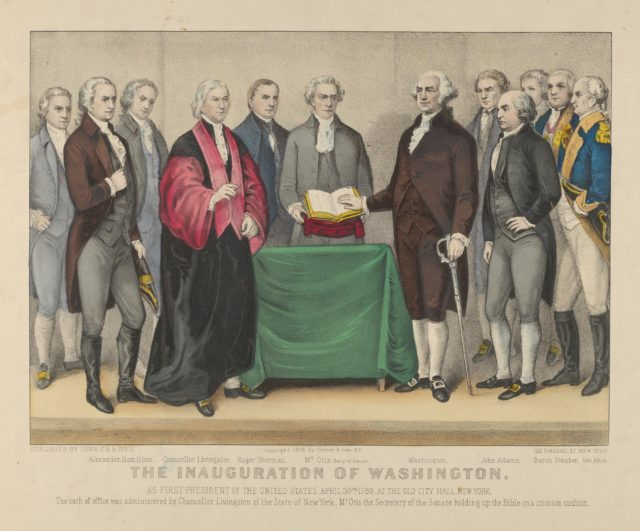 The Inauguration of Washington as First President of the United States, April 30th 1789 – At the Old City Hall, New York – The oath of office was administered by Chancellor Livingston of the States of New York – Mr. Otis the Secretary of the Senate holding up the Bible on a crimson cushion.