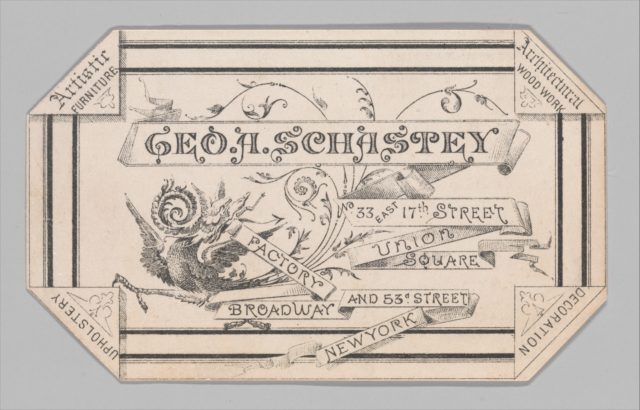 Trade card for George A. Schastey