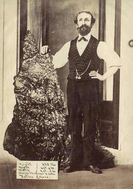 "Bernard Otto Holtermann and the world's largest ""nugget"" of gold, North Sydney, ca. 1874-1876 / montage photograph by American and Australasian Photographic Company"