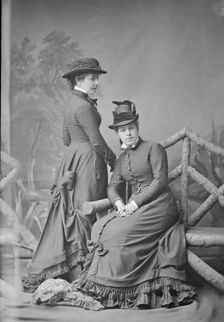 Misses Alice (The White Rose of Sydney) & Margaret Halloran of Burwood, NSW, ca. 1877 / ¼ plate glass negative by Freeman & Co.