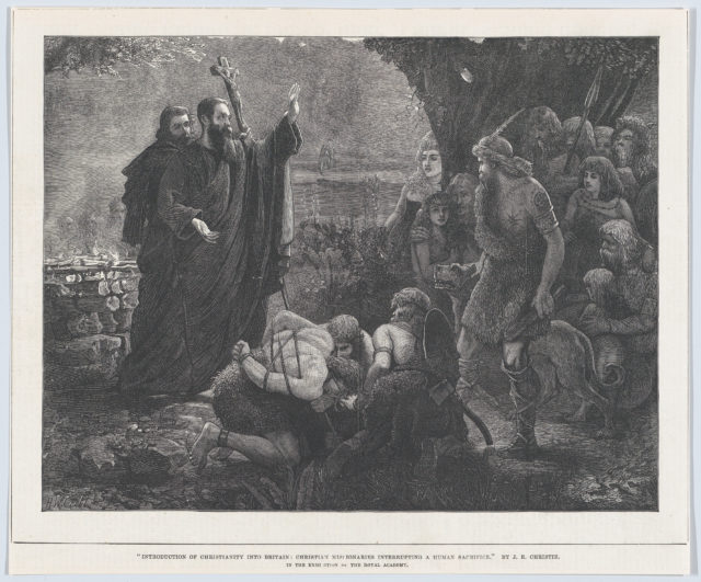 """Introduction of Christianity into Britain: Christian Missionaries Interrupting a Human Sacrifice, from the """"Illustrated London News"""""""