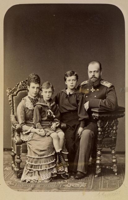 Alexander III, the Emperor of Russia, Maria Feodorovna, and future Nicholas II