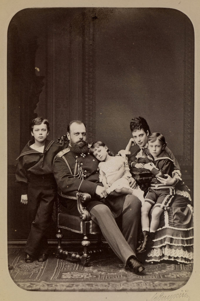 Alexander III, the Emperor of Russia with wife and kids