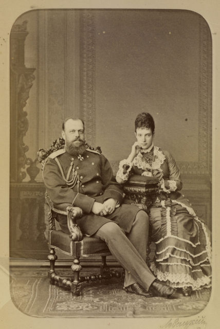 Alexander III, the Emperor of Russia, with his wife Maria Feodorovna