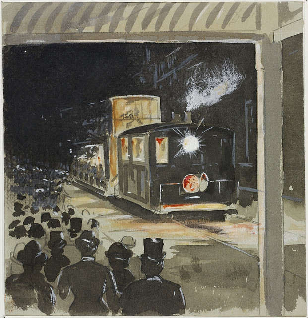 King and Elizabeth St. drawn on the first night that the first tram ran, c. 1879 / drawn by J. Flynn