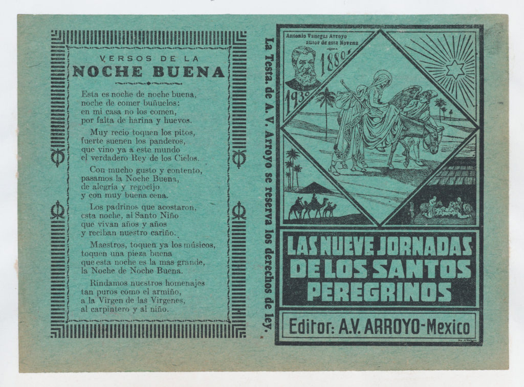 Cover for 'Las Nueves Jornadas de los Santos Peregrinos', Mary on horseback and Joseph being guided through Egypt by an angel