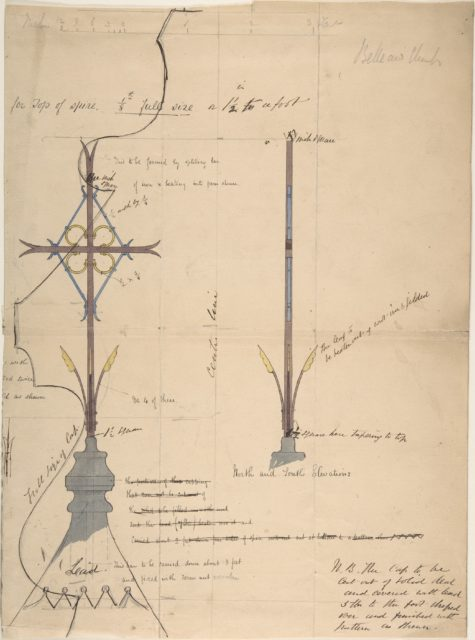 Design for a Cross Supported by Lead Roof Cap, for Belleaw Church