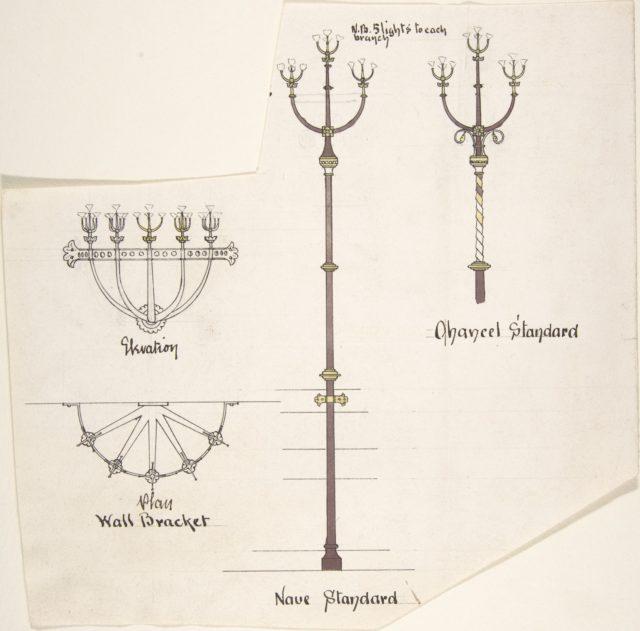 Designs for Church Lights: Wall Bracket, Nave Standard, Chancel Standard