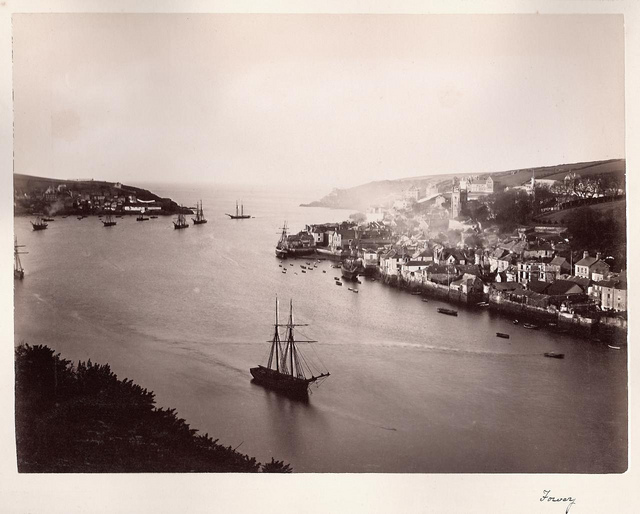 Fowey, Cornwall - estuary with ships of all sizes, late 1800s?
