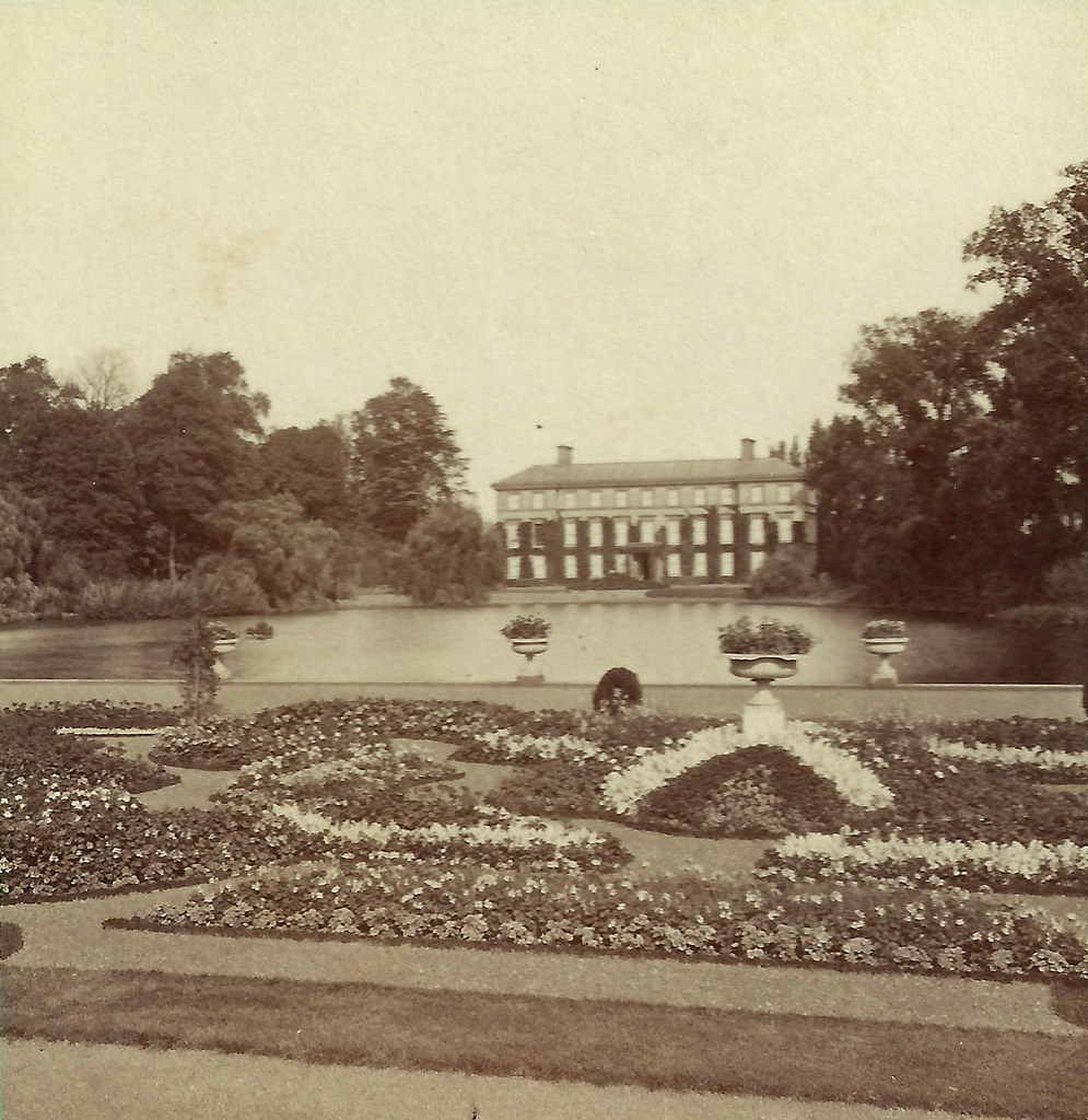 Palm House Pond and Museum No1 at Kew Gardens (detail from stereoview)