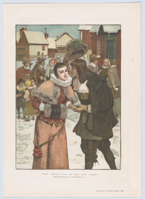 """New Year's Day in Old New York (from the Christmas Number of """"The Graphic"""")"""