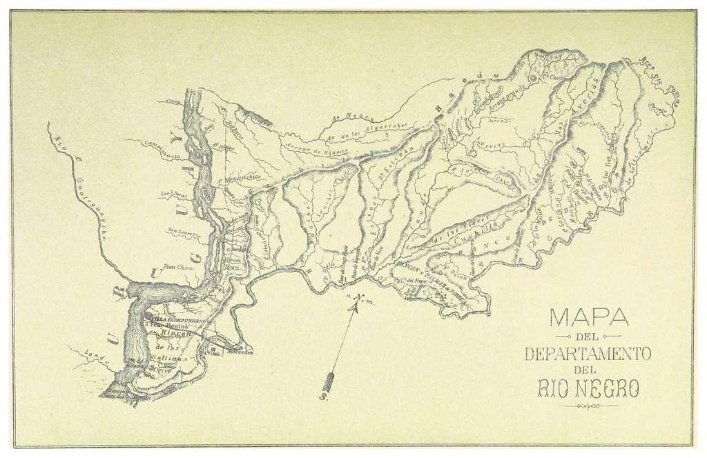 BERRA(1882) p391 PLANO DEL DEPARTEMENTO DEL RIO NEGRO