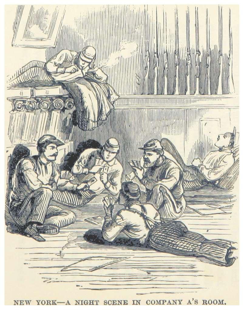 HEADLEY(1882) -p258 New York - a night scene in Company A's room