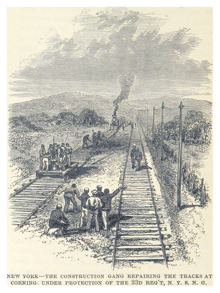HEADLEY(1882) -p438 New York-The Construction Gang Repairing the Tracks at Corning, under Protection of the 23d Reg't, N. Y. S. N. G