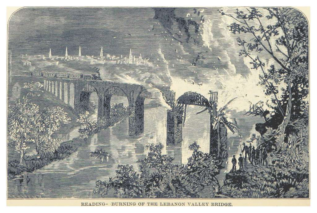 HEADLEY(1882) -p468 Reading - Burning of the Lebanon Valley Bridge
