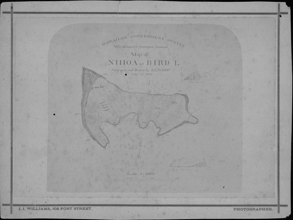1883 Map of Nihoa or Bird Islands, photograph by J. J. Williams (PP-45-10-005)