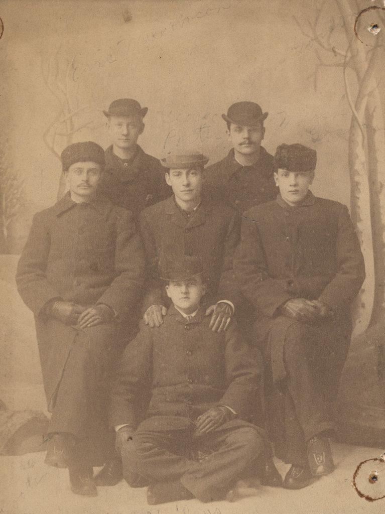 Group portrait, Six men in winter dress. 1883