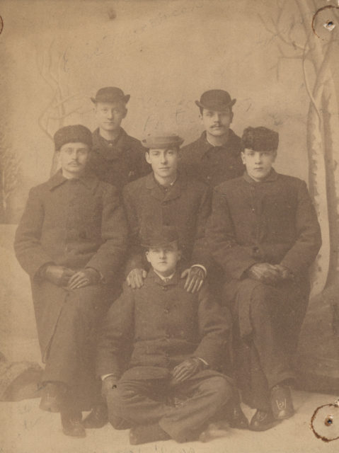 Group portrait, Six men in winter dress. 1883