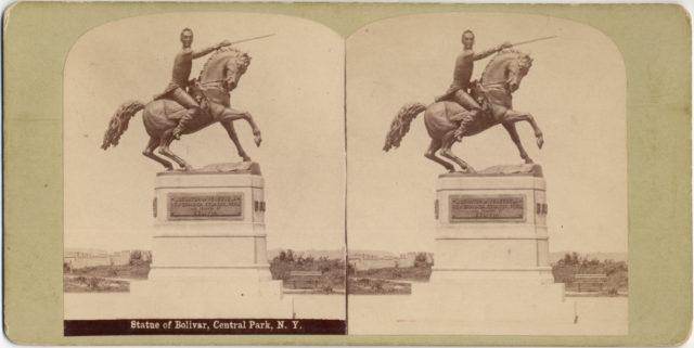 [Stereographic View of Statue of Simon Bolivar by R. de la Cora, Central Park, New York]