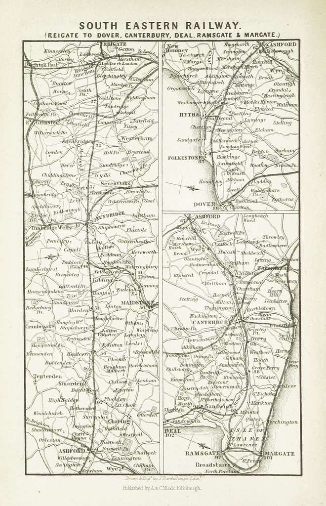 EW(1884) p.052 - South Eastern Railway - Reigate to Dover, Canterbury, Deal, Ramsgate and Margate - A + C Black (pub)
