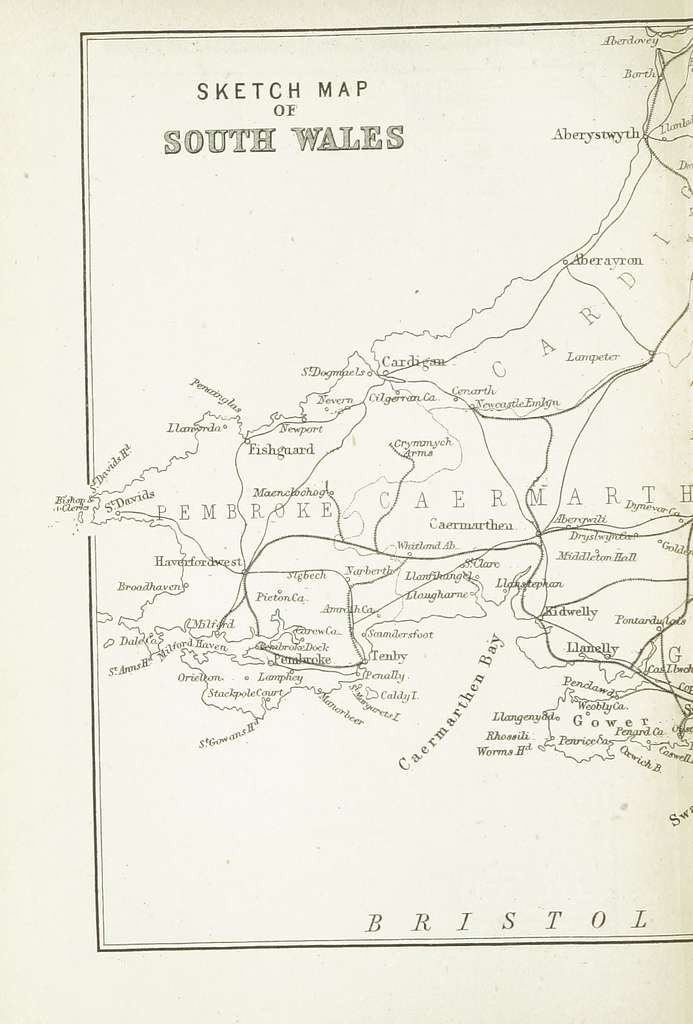 EW(1884) p.210 - Sketch Map of South Wales (left) - A + C Black (pub)