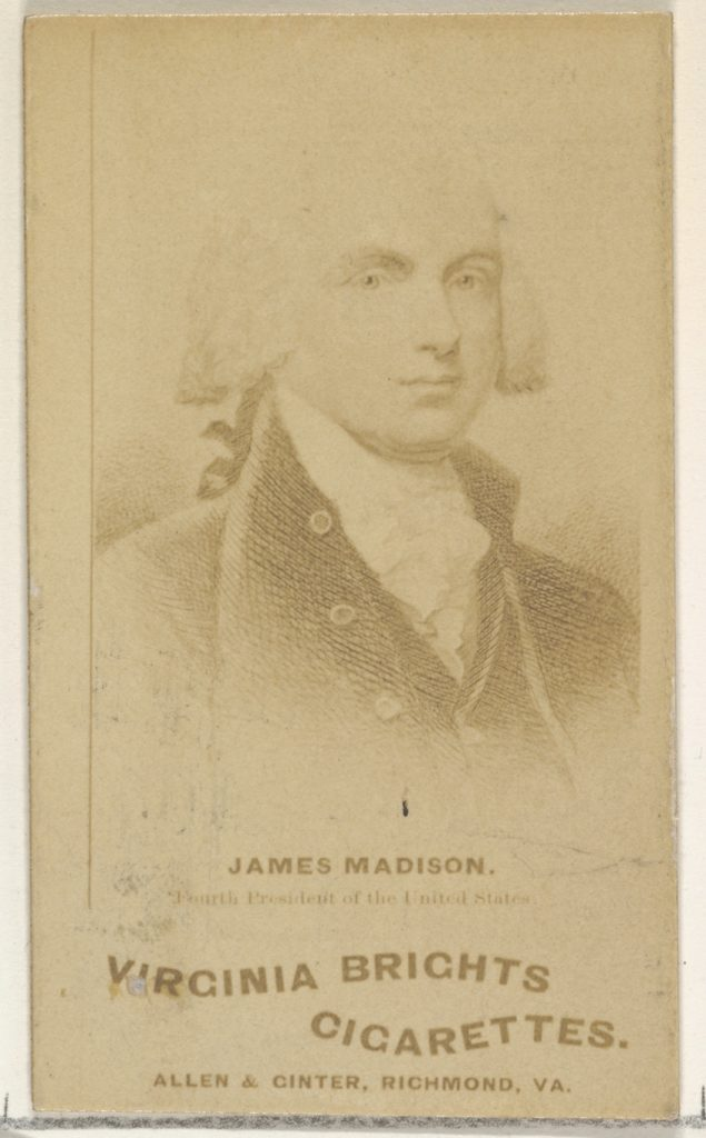 James Madison, from the Presidents of the United States series (N51) for Virginia Brights Cigarettes